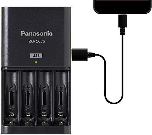 Eneloop Panasonic BQ-CC75KSBHA - Cargador de batería Individual con Puerto de Carga USB, Color Negro