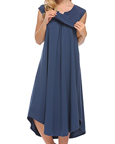 Susens Women Nightwear Cotton V Neck Dress Cap Sleeve Nighties Dress Knee Length Nightgown (Navy Blue (Sleeve Knee Length Nightgown)