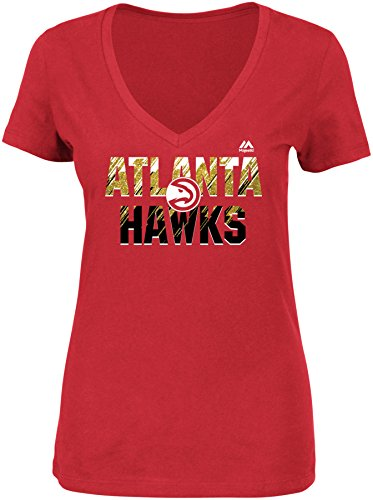 NBA Atlanta Hawks Women's Get Aggressive Short Sleeve V-Neck Tee, Medium, Athletic Red