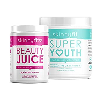 Image of Health and Household SkinnyFit Beauty Juice and Super Youth Unflavored, Superfood Powder & Collagen, Slim Down, Clearer Skin, Stronger Hair & Nails, Joint & Bone Support, Boost Metabolism, Optimize Digestion, 88 Servings