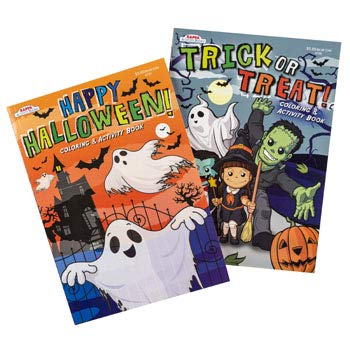 Set of 2 Children's Coloring Books - Halloween Themed - Full Page Designs - Coloring and -
