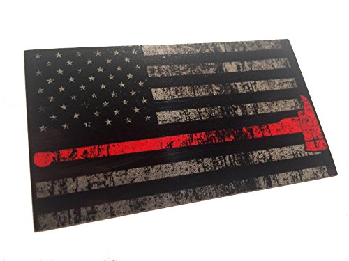 The Tattered and Burned Reflective Thin Red Line with Axe United States Flag Tactical Firefighter EMT Paramedics 3m Decal 3.5 x 2 Sticker