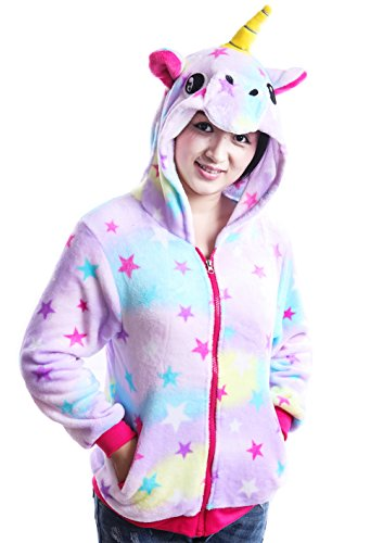AooToo Costume Hoodies Cute Juniors Kids Cartoon Unicorn Flannel Zipper Jackets(Star, (Halloween Kids Sweatshirt)
