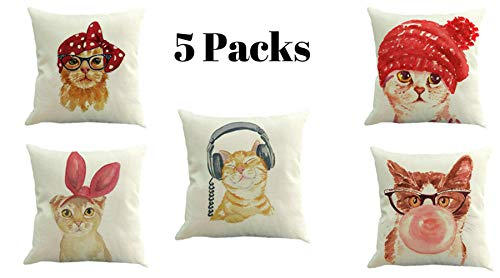 FisrtHeaven Lovely Pillowcases Cats 6packs Home Decor Kitten Cover Cushion, Pillow Cover Nice cat Design, fundas de gatitos para almohada,