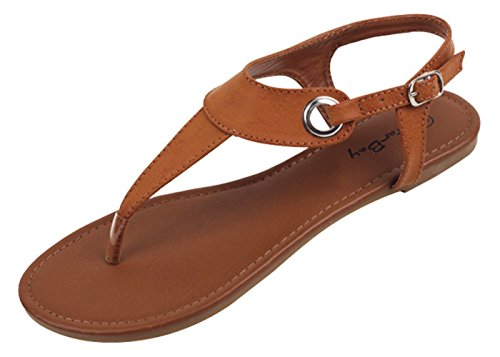 SB-2207 Women's Gladiator Sandals Roman Flats Fashion Thongs Buckle T Straps Shoes (7 B(M) US, Brown)