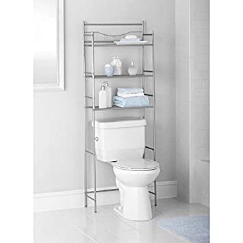 3 shelf over toilet bathroom storage organizer cabinet space saver towel rack - Over The Toilet Bathroom Organizers