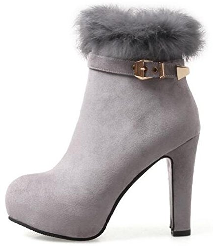 IDIFU Womens Dressy Fluffy Fur Buckle Faux Suede Platform High Chunky Heels Ankle Boots With Side Zipper Gray yMvgWA35hA