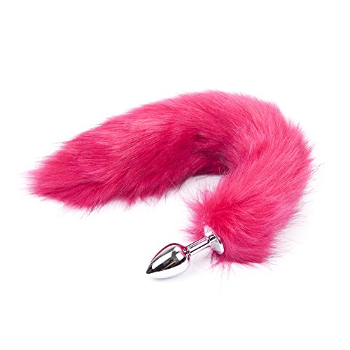 Three Size Faux Fox Tail Metal Butt Plug (Large, Rose Red)