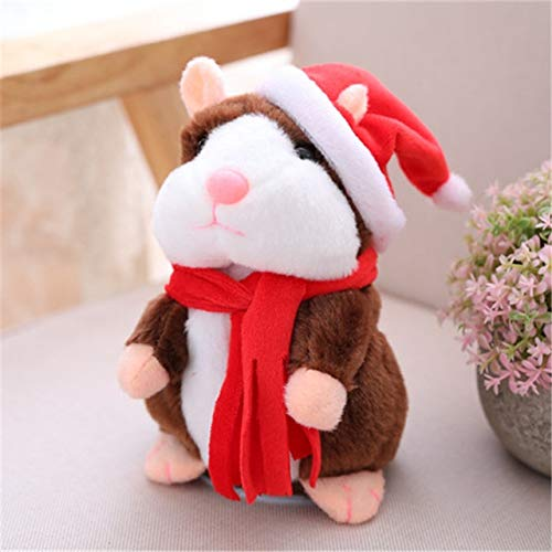 Talking Hamster Talking Stuffed Plush Animals Talking Hamster Mouse Pet Christmas Toy Speak Talking Sound Record Hamster Educational Plush Toy for Children (Xmas Dark Brown) for $<!--$19.99-->