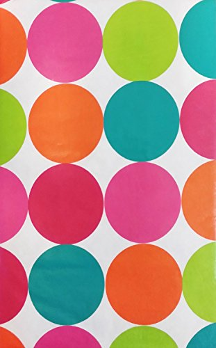 Large Multi Colored Polka Dots Vinyl Flannel Back Tablecloth (52