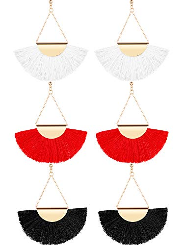 Tassel Shaped (Gejoy 3 Pairs Tassel Hoop Earrings Bohemia Fan Shape Ear Drops Women Dangle Ethnic Earrings, Red, White and Black)