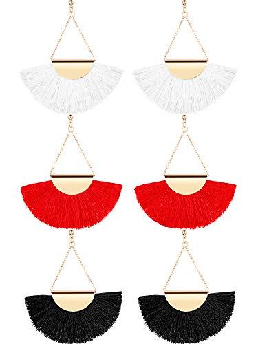 Tassel Hoop Earrings Bohemia Fan Shape Ear Drops Women Dangle Ethnic Earrings (Black, White, Red, 3 Pairs) (Black, White, Red, 3 Pairs)