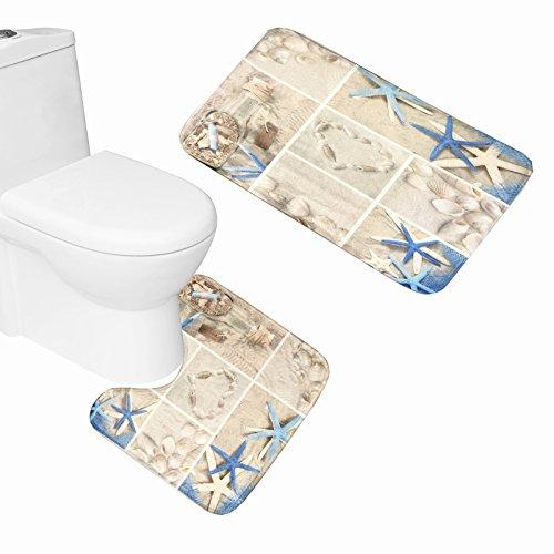 Amagical Blue Starfish Seashell Conch 2 Piece Bathroom Mat Set Wishing Bottle Love Stone Design Bath Mat + Contour ()