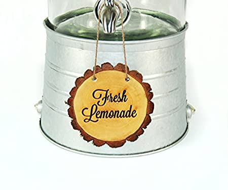 Amazon.com: Beverage dispenser with personalized tree slice sign: Home & Kitchen