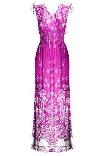 [G2 Chic Women's Floral Paisley Smocked Jersey Maxi Dress(DRS-MAX,PPLA9-S)] (Paisley Silk Jersey)