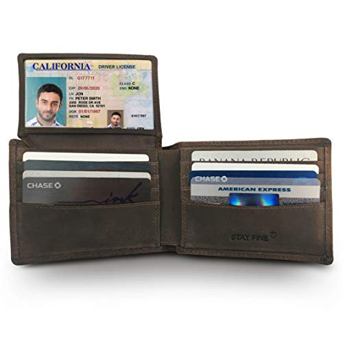 Mens Leather Bifold Wallet | RFID Blocking with 2 ID Windows | By Stay Fine