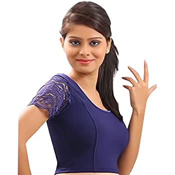 8274256ec729e Designer Crope Top Women Choli Indian Lycra Stretchable Blue Blouse Wedding  Party Wear Best Match for Saree By thnic Emporium