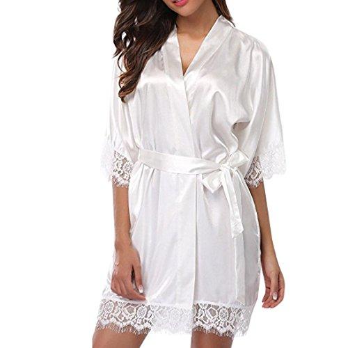 XILALU Women Sexy Silk Kimono Dressing Gown Babydoll Lace Hem Lingerie Satin Solid Short Sleeve Bath Robe Plus Size (M, White) ()