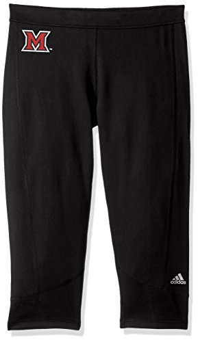 adidas NCAA Miami of Ohio Redhawks Adult Women Team Logo TechFit Solid 3/4 tight, Small, - Football Solid Game Pant