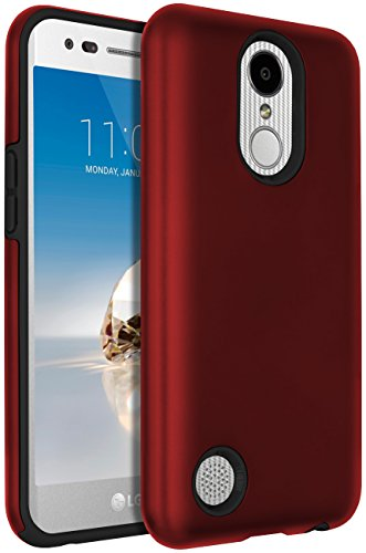 LG Aristo Case,LG LV3 Case,LG K8 2017 case,SENON Hybrid Dual Layer Shock-Absorption Painted Protective Cover Shell For LG K8 2017,Red Black