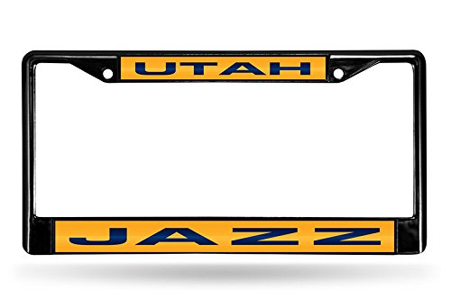 Rico NBA Utah Jazz Laser Cut Inlaid Standard Chrome License Plate Frame, Black by Rico