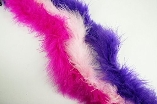 Dreampartycreation Set of 3 Colors MINI Marabou FEATHER BOAS 14 grams & 2 YARDS Each (Fuchsia,Pink,Purple)