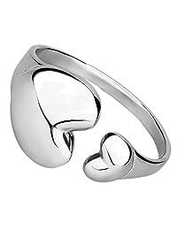 Women's 8 Inch Polished Stainless Steel Double Heart Cuff Bracelet