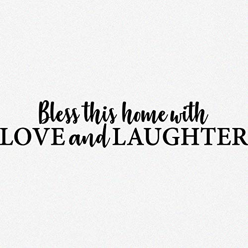 My Vinyl Story - Bless This Home with Love and Laughter - Wall Decals for Living Room Family Decal Quote Religious Words and Saying Sticker Sign Family Decor Removable Vinyl for Bedroom Home 36x7 in