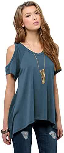 Women's Vogue Shoulder Off Wide Hem Design Top Shirt