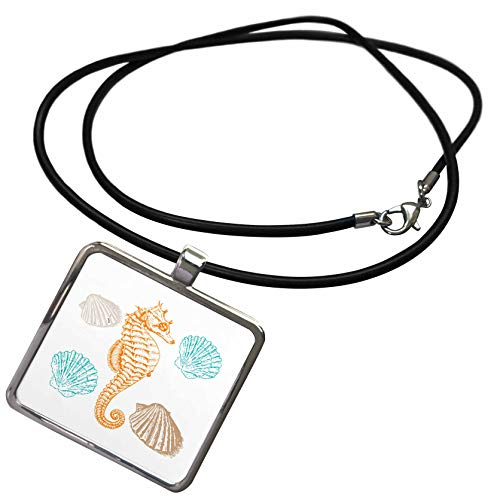 Shell Rectangle Pendant - 3dRose Lens Art by Florene - Beach Decor - Image of Orange Seahorse and Pastel Seashells - Necklace with Rectangle Pendant (ncl_305860_1)