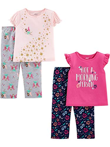 Simple Joys by Carter's Girls' Toddler 4-Piece Fleece Pajama Set, Fairy/Floral, 3T