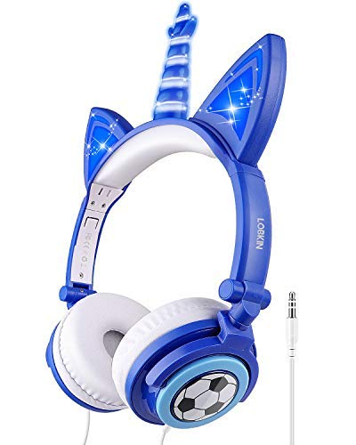 LOBKIN Kids Headphones,Unicorn Cat Ear Wired Foldable Headphones for Kids Over-Ear/On-Ear for Boys Girls, Adjustable 85dB Volume Control, Childrens Game Headphones for School/Tablet