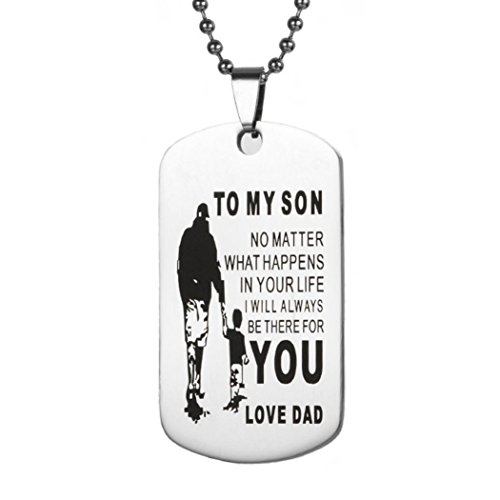 Hot Sale! Dad Mom To My Son Dog Tag Necklace Military Fathers Day Family Love Stainless Steel Dogtags Inspirationa Letters Pendant Best Gifts (To My Son E, Stainless Steel)