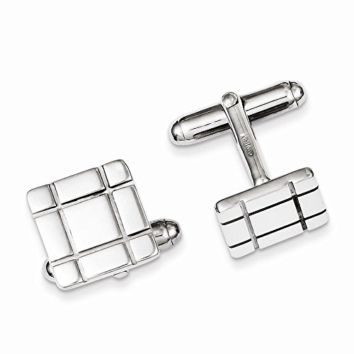 Sterling Silver Grooved Design Cuff Links, Best Quality Free Gift Box
