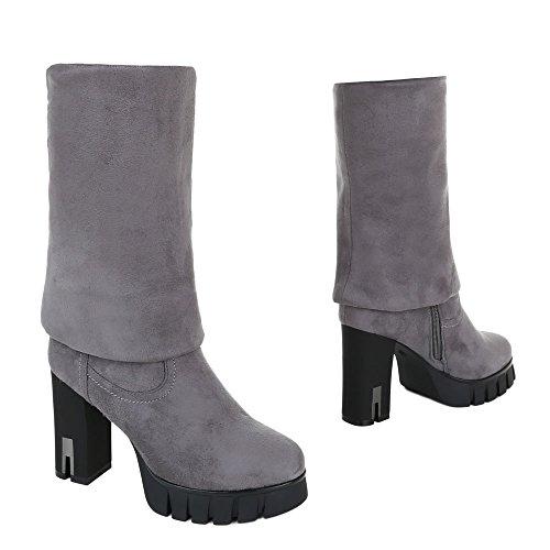Ital-Design Overknee Stiefel Damenschuhe Klassischer Stiefel Blockabsatz Leicht Gefütterte Reißverschluss Stiefel Grau