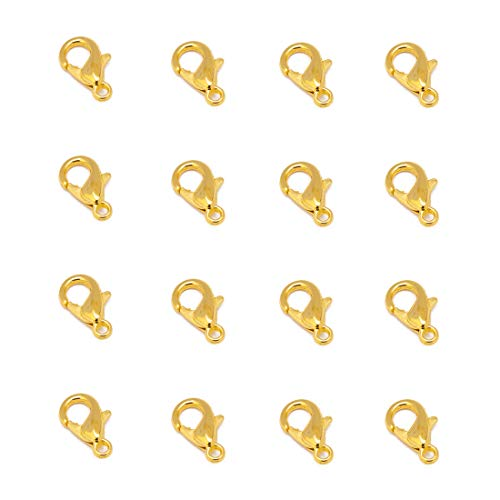 Tiparts 100 pcs Lobster Clasps Silver/Gold/Rhodium Plated Alloy Lobster Claw Clasps DIY Jewelry Finding Making (Gold, 12x6mm)