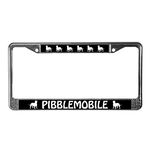 Pit Bull License Plate Frame - CafePress - Pibblemobile (Pit Bull) License Plate Frame - Chrome License Plate Frame, License Tag Holder