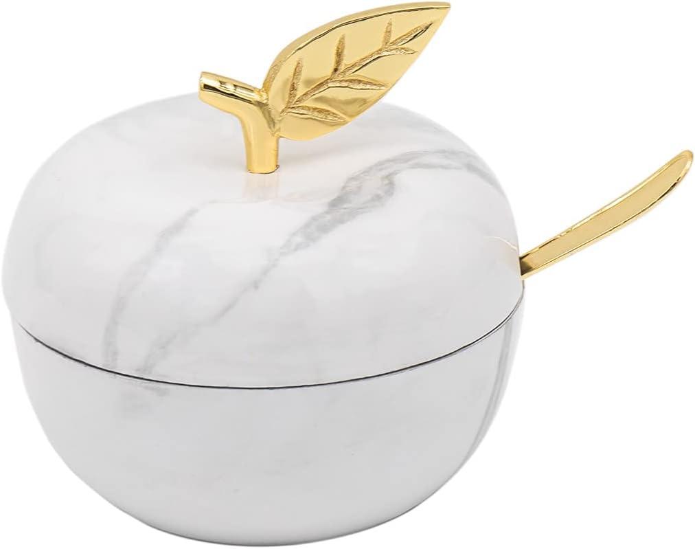 Godinger Apple Honey Dish Jam Jar - Marble and Gold
