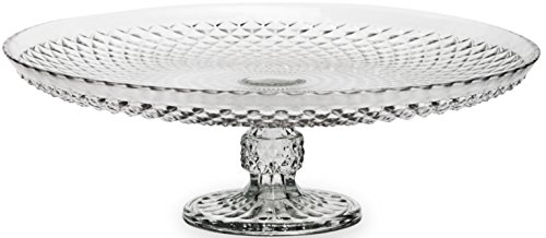 Circleware Vantage High Class Italian Cut Footed Glass Cake Plate, 12