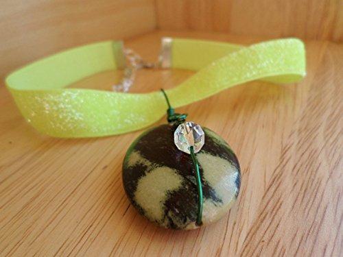 Lime Green Glitter Stretch Fabric Ribbon Choker with Chita Jasper Pendant (Jasper Necklace Fabric)