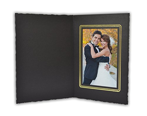 Golden State Art, Cardboard Photo Folder For a 3.5x5 Photo (Pack of 50) GS006 Black Color by Golden State Art