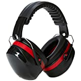 AmazonBasics Noise Reduction Safety Earmuffs Ear Protection, Black and Red