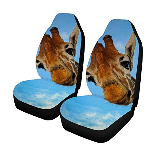 INTERESTPRINT Custom Giraffe Blue Sky Car Seat Covers for Front of 2,Vehicle Seat Protector Fit Most Car,Truck,SUV,Van