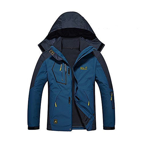 Wantdo Men's Hooded Waterproof Fleece Ski Jacket Rain Jacket