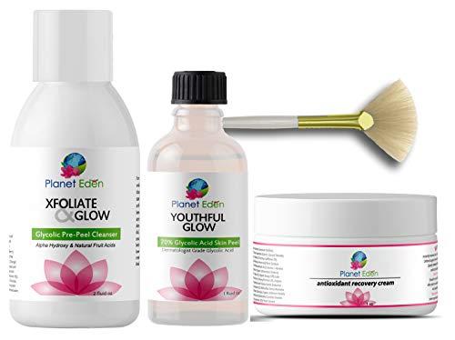 Planet Eden 70% Glycolic Acid Chemical Skin Peel Kit + Glycolic Acid Pre-Peel Cleanser + Antioxidant Recovery Cream + Treatment Fan ()
