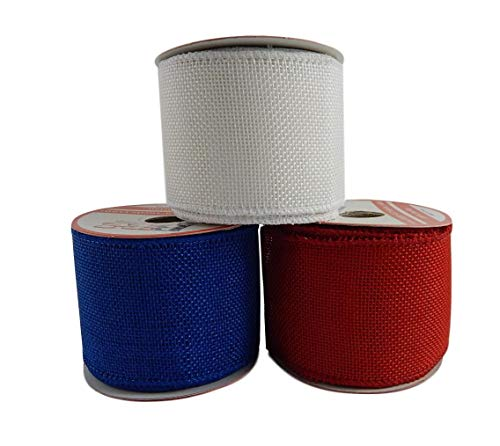 Patriotic Assortment (Pack of 3) Burlap Wired Red White Blue Fabric 2 1/2 Inch Wide Ribbon Rolls - Each 6 Yards Long (Solid Burlap) 54 Feet Total Length ()