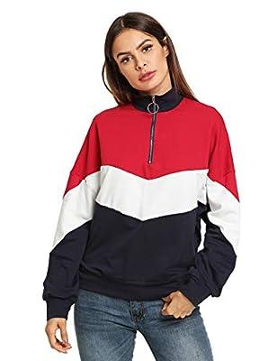 SweatyRocks Women's Long Sleeve Color Block Zip up Sweatshirt Pullover Tops