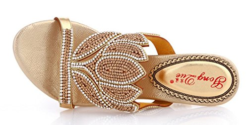 Abby Amn-t040 Kvinnor Damer Nytt Mode Komfort Rhinestone Mitten Hälen Halka På Tofflor Guld