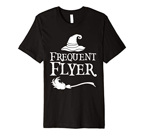 Frequent Flyer T-Shirt Funny Broomstick and Hat Tee -