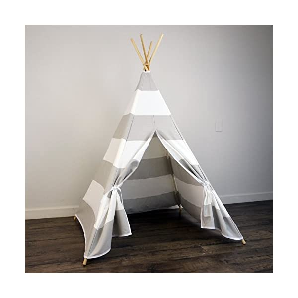 AniiKiss-6-Giant-Canvas-Kids-Teepee-Play-Tent-Grey-Stripes